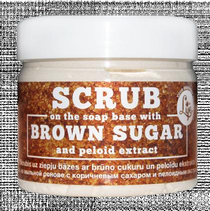 Skrubis uz ziepju bāzes ar brūno cukuru un peloīdu ekstraktu