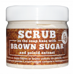 Image: Scrub on the soap base with brown sugar and peloid extract